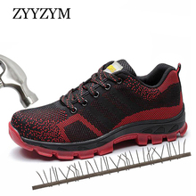 ZYYZYM Men Working Safety Shoes Outdoor Steel Toe Protective Puncture Breathable Boots For Indestructible