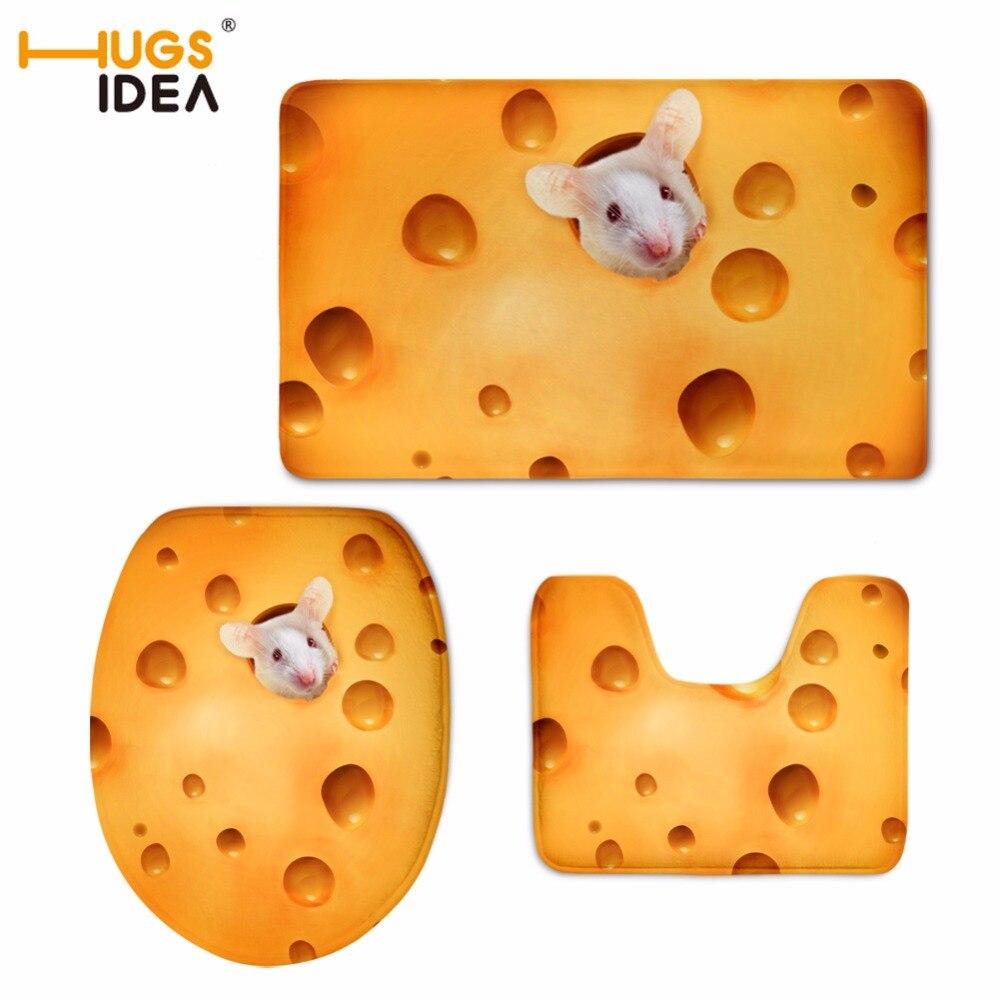 HUGSIDEA 3 pièces Set tapis de sol doux salle de bain mignon 3D animaux cochon imprime tapis de résistance au glissement pour toilettes WC maison hôtel décor tapis