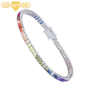 4 Prong Cubic Zircon Square Rainbow Crystal Tennis Chain Bracelet 100% S925 Sterling Silver Bracelets for Women Silver Jewelry