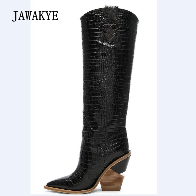 ba97693776d Detail Feedback Questions about 2018 Runway Snakeskin Knee High Boots Woman  Pointed Toe Real Leather Wedges Long Boots Women Fashion Knight Boots on ...