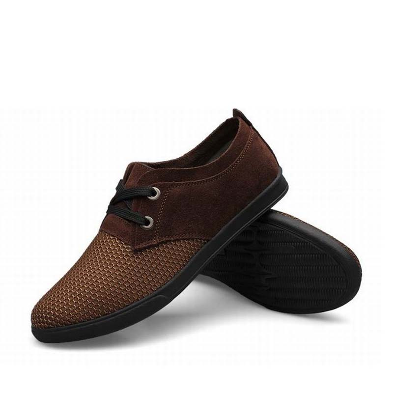 ФОТО 2016 men shoe platform breathable genuine leather mesh mens dress casual shoes zapatillas deportivas zapatos hombre plus size 47