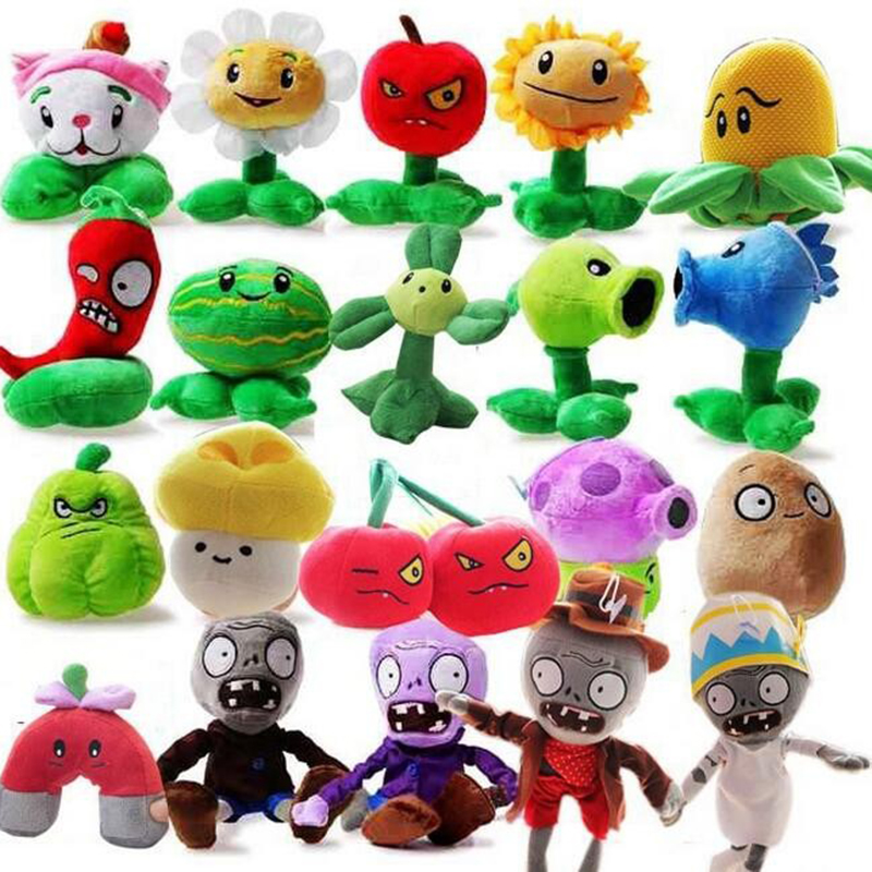 Azoo 20pcs/lot Plants vs Zombies Stuffed Plush Toys Fashion Games PVZ Soft Toys Doll for kids Gifts Party Toy Baby Plush Doll