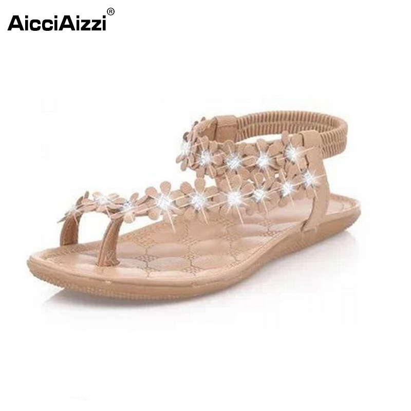 Women Shoes Woman Sandals Bohemia Sandal Shoes Pinch The Clip Toe Flowers Flat Han Edition Lady Beach Shoes Size35-39 PA00235