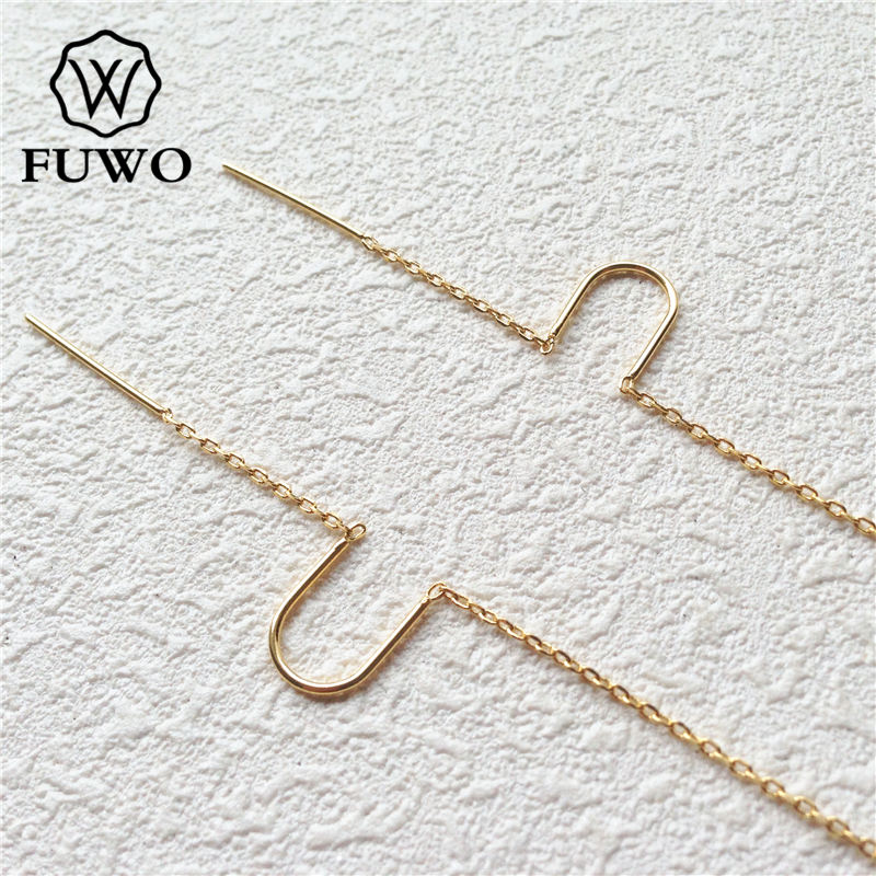 FUWO 24k Gold Color Plated Brass Threader Earrings High Quality Earrings Jewelry Accessories For DIY Making B006 55*8mm