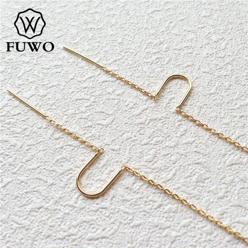FUWO 24k couleur or plaqué laiton enfileur boucles d'oreilles haute qualité boucles d'oreilles bijoux accessoires pour bricolage faisant B006 55*8mm-in Bijoux et composants from Bijoux et Accessoires    1