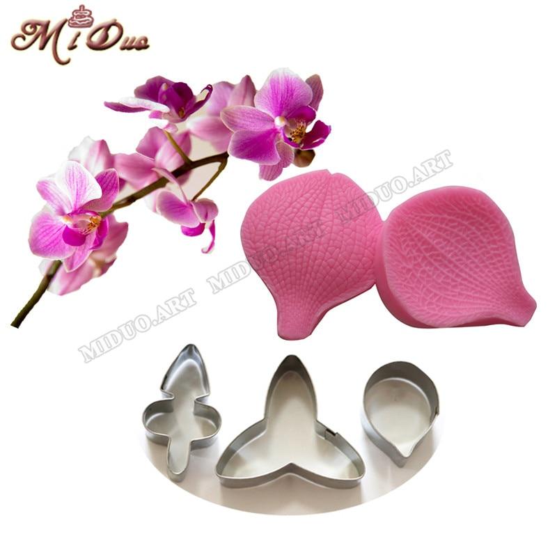 Butterfly Orchid Petal Silicone Veiner & Cutter Flower Cutter Cake Dekorative Forme Fondant Sugarcraft Rustfrit Stål Kutter