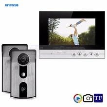 DIYSECUR 7inch Video Record/Photograph Video Door Phone Doorbell Home Security Intercom System RFID Camera IR Night Vision 2V1