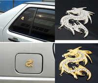 Rete lucido di cristallo del drago 3D slivery d'oro in metallo adesivo auto auto parti di automobili accessori