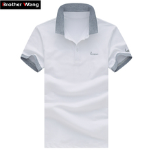 Летние Для мужчин досуг Бизнес Поло рубашка мода нагрудные мужчина с короткими рукавами Поло рубашка сплошной Цвет большой ярдов Для мужчин брендовая одежда