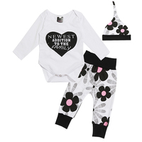 1 Year Birthday Infant Baby Boy Girl Unisex 3pcs Clothing Sets Cotton Rompers Pants Hat Long Sleeves Letter Pattern Deal Free