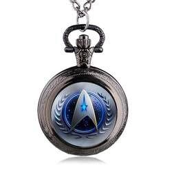 Мода Тема фильма Star Trek карманные часы ретро бронзовая подвеска Цепочки и ожерелья латунь кварцевые часы подарки HB809