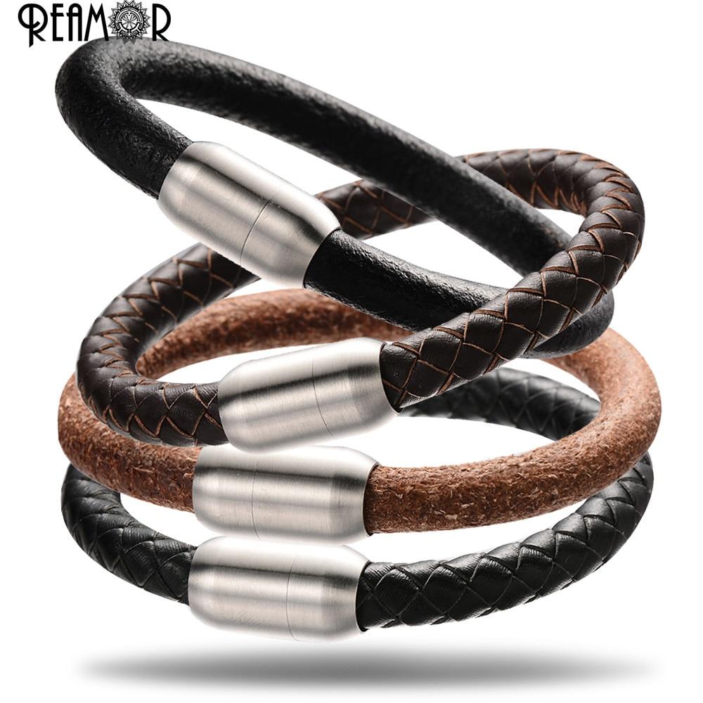 REAMOR 5 Types 8mm Genuine Leather Bracelets Large Hole ...