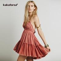 Kakaforsa 2017 Sexy Summer Beach Dress Backless Beach Cover Up Women Bikini Swimwear Swimsuit Cover Ups