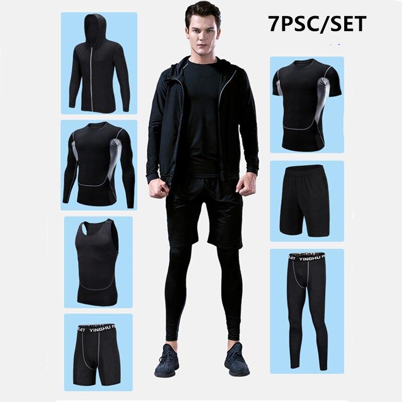 Vêtements d'entraînement en cours d'exécution hommes 7 pièces/ensembles ensembles de course à Compression collants de Jogging de basket-ball ensemble de sous-vêtements - 6