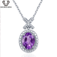 DOUBLE R 1 2ct Amethyst Natural Stone Pendant For Women Silver 925 Oval Real Diamond Pendant