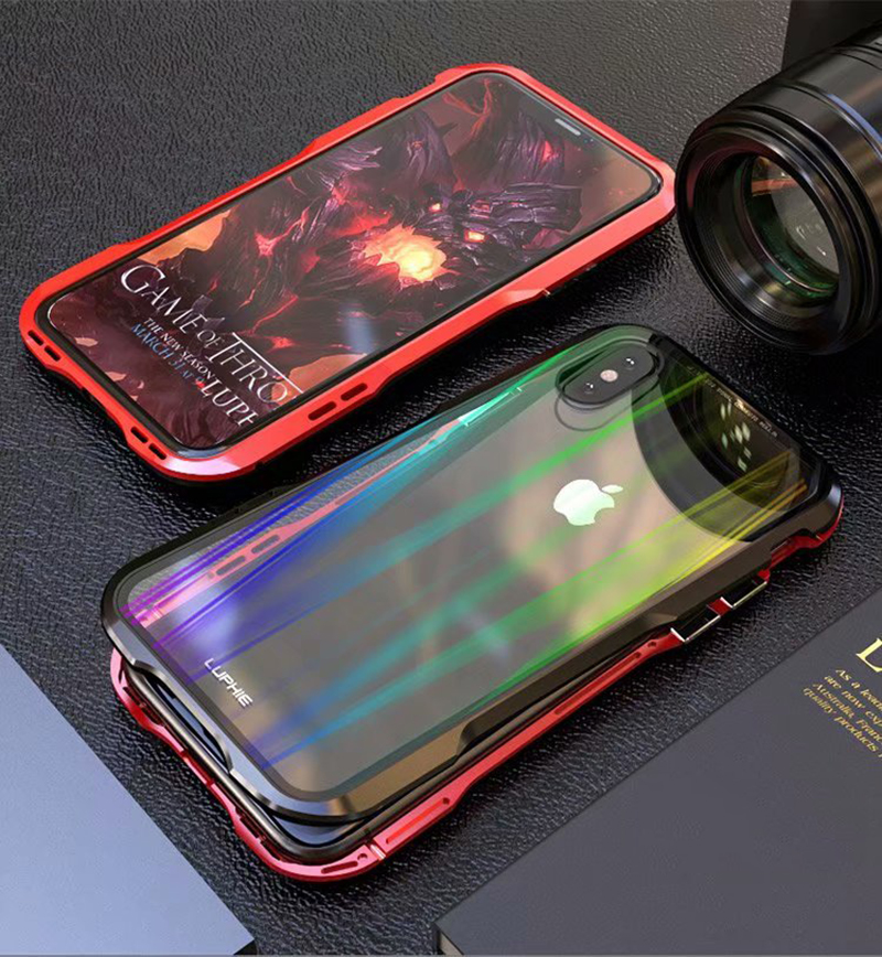 Luxury Magnetic Case For Apple iPhone XS Max Case coque Metal bumper cover For iPhone XR Case Transparent Aurora tempered glass  (13)