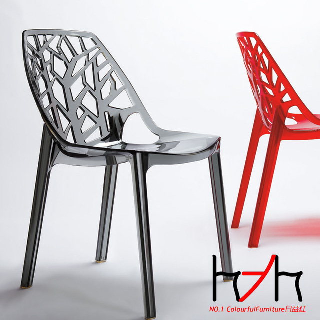 Growing New Red Plastic Chairs Dining Branches Clear Crystal High End European And
