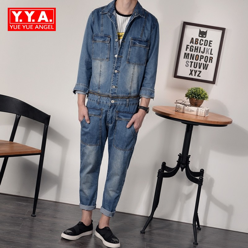 Denim Overalls Mens Autumn 2018 Korean Fashion Punk Style Casual Jeans Jacket Ankle-Length Pants Male Pockets Slim Fit Jumpsuits чехол для iphone 4 глянцевый с полной запечаткой printio ford mustang shelby gt500 eleanor 1967 page 3