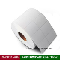 50 30mm 5000 Sheets Thermal Transfer Label Ink Paper Quality Sticker Code Labels For Packaging And