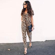Sexy Leopard kombinezony dla kobiet 2019 eleganckie kombinezony krótki rękaw dekolt w serek w pasie damskie pajacyki kombinezon długie spodnie DG433 tanie tanio Kobiety Kombinezony i Pajacyki DevenGee Poliester Elastan Pełnej długości Sexy club REGULAR NONE Suknem