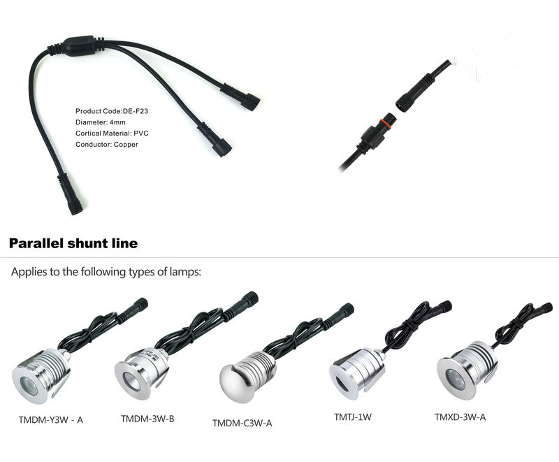 2pin t type ip67 waterproof extension cable  connect wire  power cord for single color led light