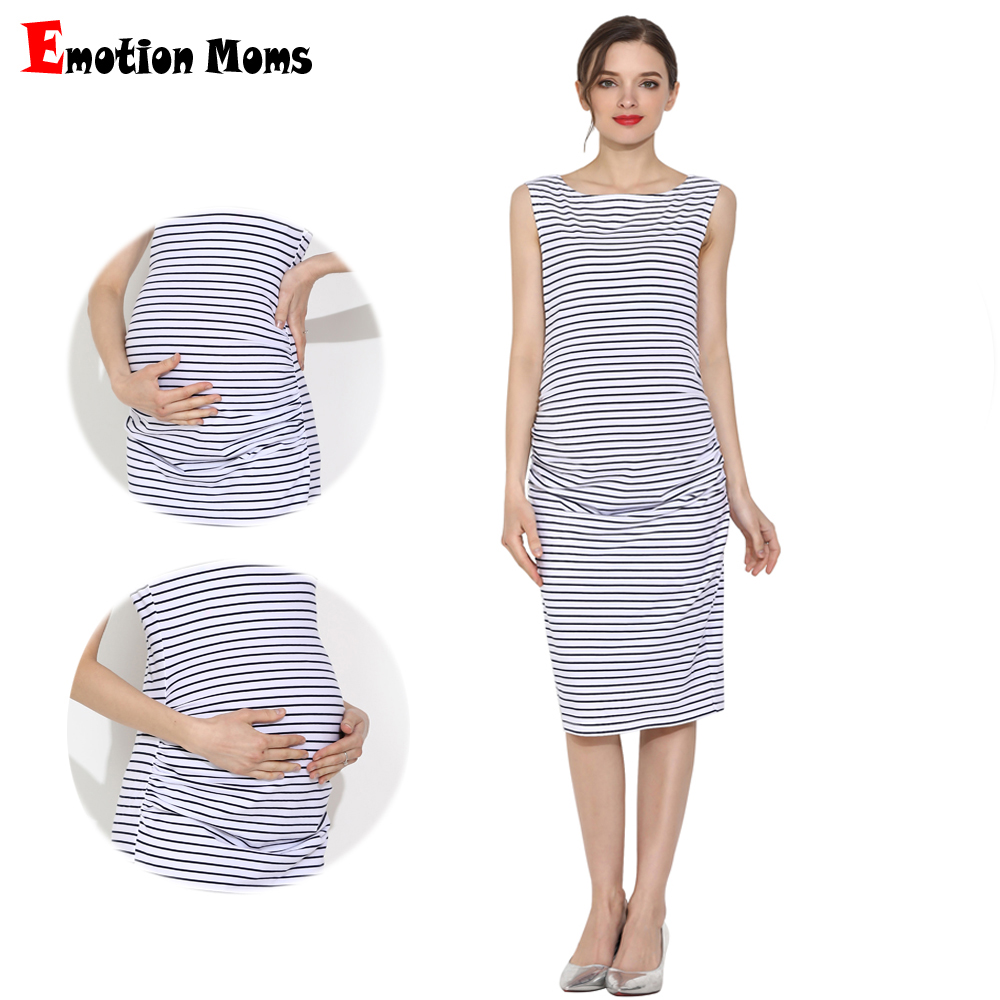 Emotion Moms Summer Pregnant Dress Sleeveless Pregnancy Clothes Casual Summer Stripe Cotton Maternity Mama Knee-length Dress title=