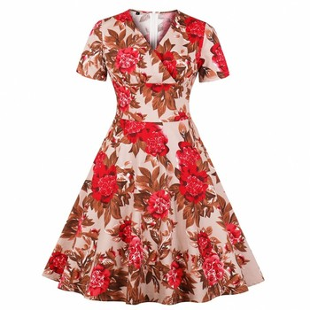 4c8dc75ebfb1 2019 mujeres Vintage princesa Floral encaje cóctel escote partido Aline  Swing vestido 3,7