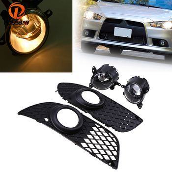 POSSBAY Car Front Lower Bumper Grille Fog Light Lamp With Switch Kit Fit for Mitsubishi Lancer 2008-2014 Car Halogen Bulbs