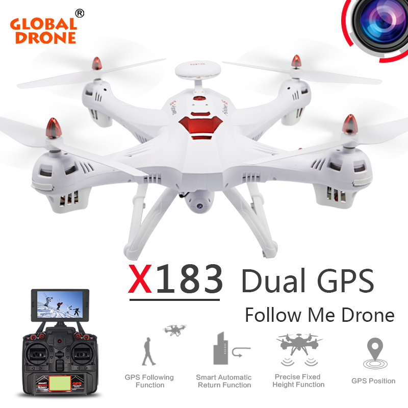 Global Drone RC Helicopter X183 Dual GPS Drone Follow me Drone 5.8G FPV RC Quadcopter with 1080P HD Camera Drone with Camera