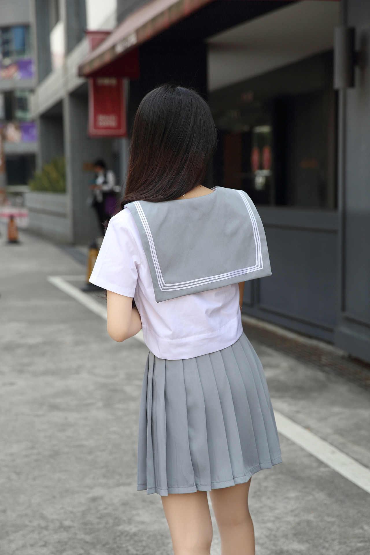 Япония Южная Корея школьная форма топы с короткими рукавами и плиссированная юбка британский морской стиль моряцкий костюм Студенческая форма