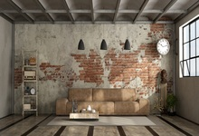 Hopetoo Living Room In Industrial Style With Leather Sofa Brick Wall Photo Vinyl