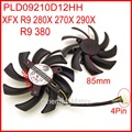 Free Shipping 2pcs/lot POWER LOGIC PLD09210D12HH DC12V 0.40A 85mm For XFX R9 380 280X 270X 290X Graphics Card Cooling Fan 4Pin