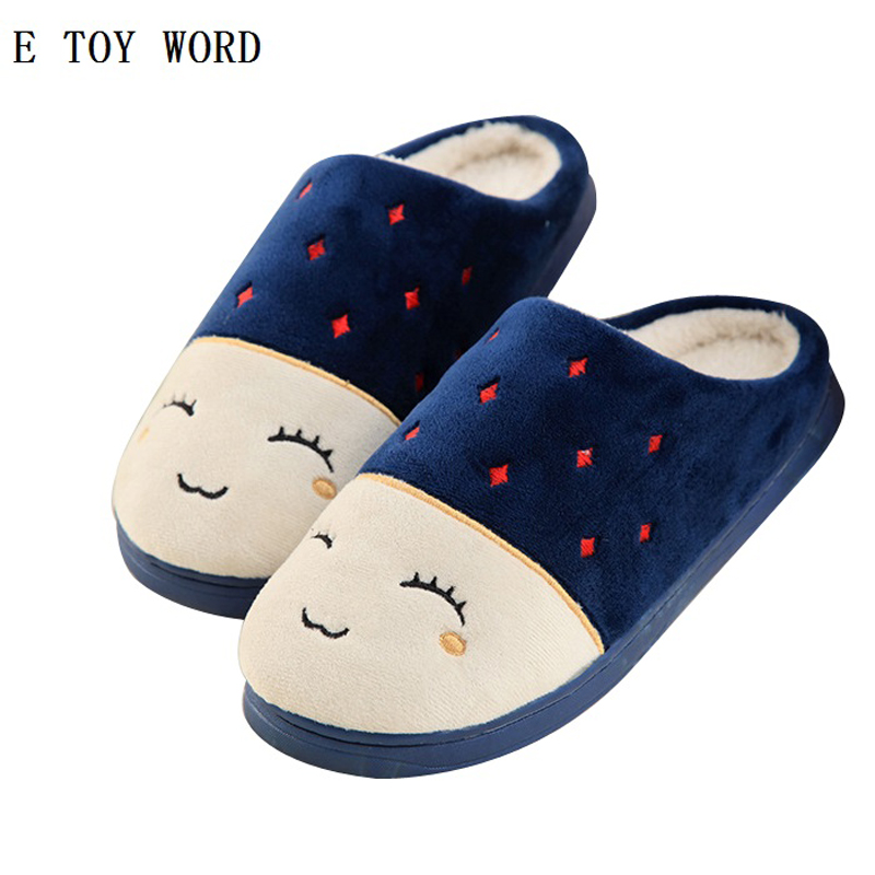 Home Slippers Soft Plush Cotton Cute Slippers Shoes Non-slip Floor Indoor House Home Fur Slippers Women Shoes For Bedroom
