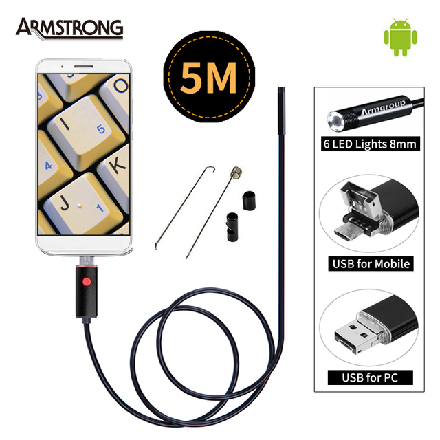 Black 2In1 Endoscope 5M Cable USB Android Endoscope Camera 8mm OTG Mini USB Android Borescope Inspection USB Camera for Android