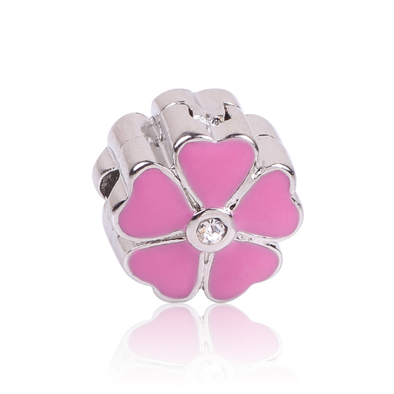 4 colors New Flowers Clips Locks Beads Stopper Bead Charm European Beads Fit Pandora Charms Bracelets & Bangles