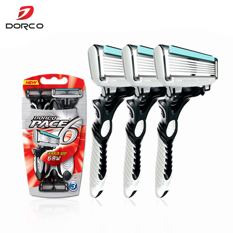 3 Pcs/lot 6-Layer Blades Original Dorco Razor For Men High Quality  Razor Men Shaving Stainless Steel Safety Razor Blades