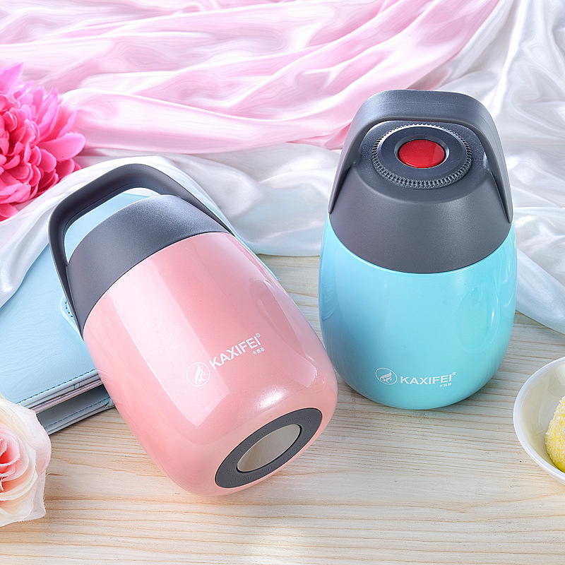 High quality 450ml Child Vacuum Insulation Cup thermos Lunch box portable bright color big mouth