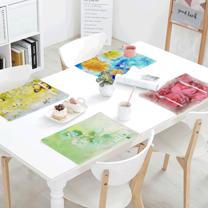 32x42cm Free Butterfly Linens Table Napkins Printing Mat Decoration Polyester Rose Requires Dinner Design Party Decor