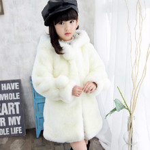 Baby Girls Fur Coat Childrens Winter Outerwear Clothing Hooded Faux Jacket for Kids Warm Clothes 2-9 Years Old