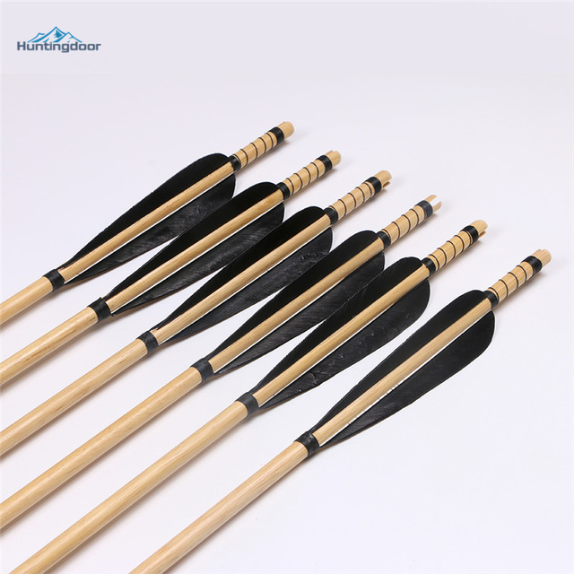 6 Pcs Archery Wood Arrows 31 Inch Black Feather Wooden Shaft Traditional Handmake Arrows for Recurve Bow Longbow Hunting