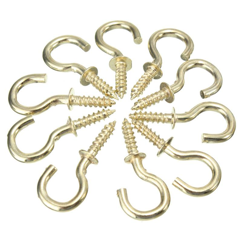 20pcs Heavy Duty Copper Plated Metal Screw-In Ceiling Hooks Cup Hooks Hanger