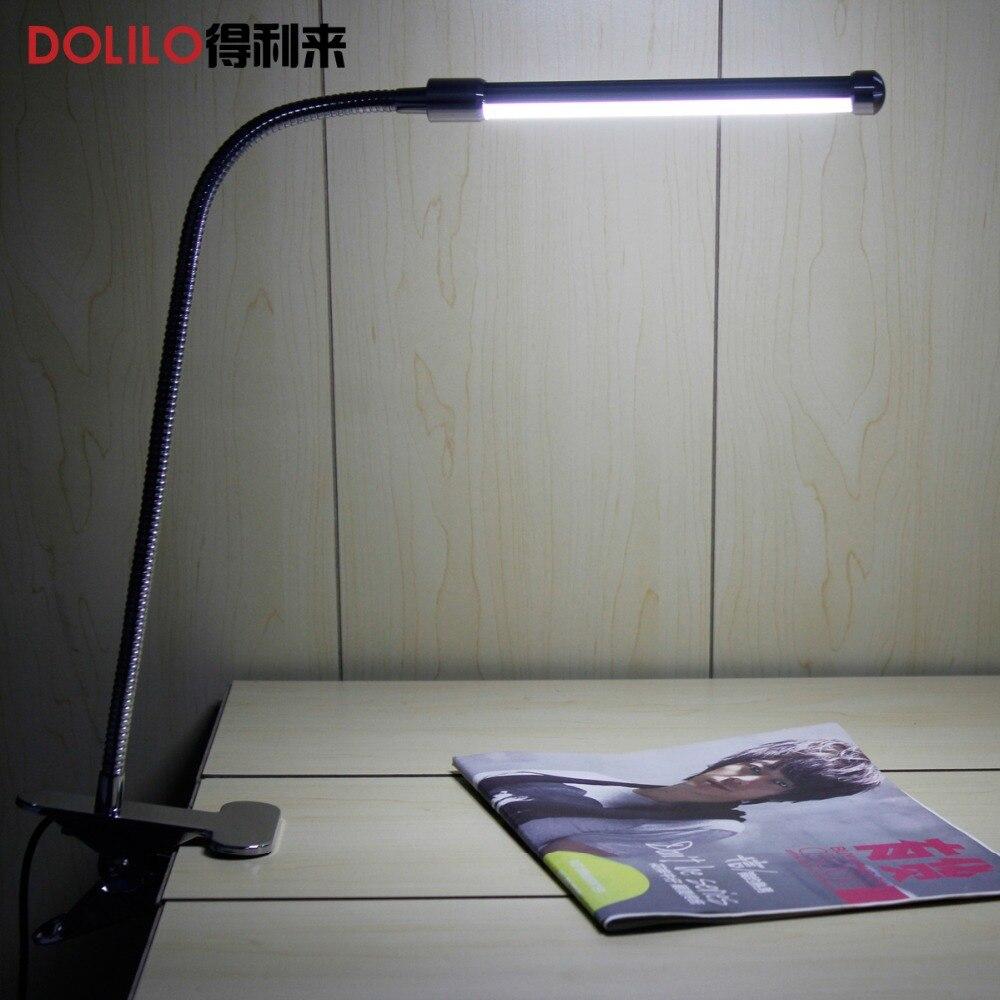 LED tischleuchte zum lesen Clip-On Flexible Helle nachtleselampe 10 Watt 5 V 220 V dim warme zu kühlen