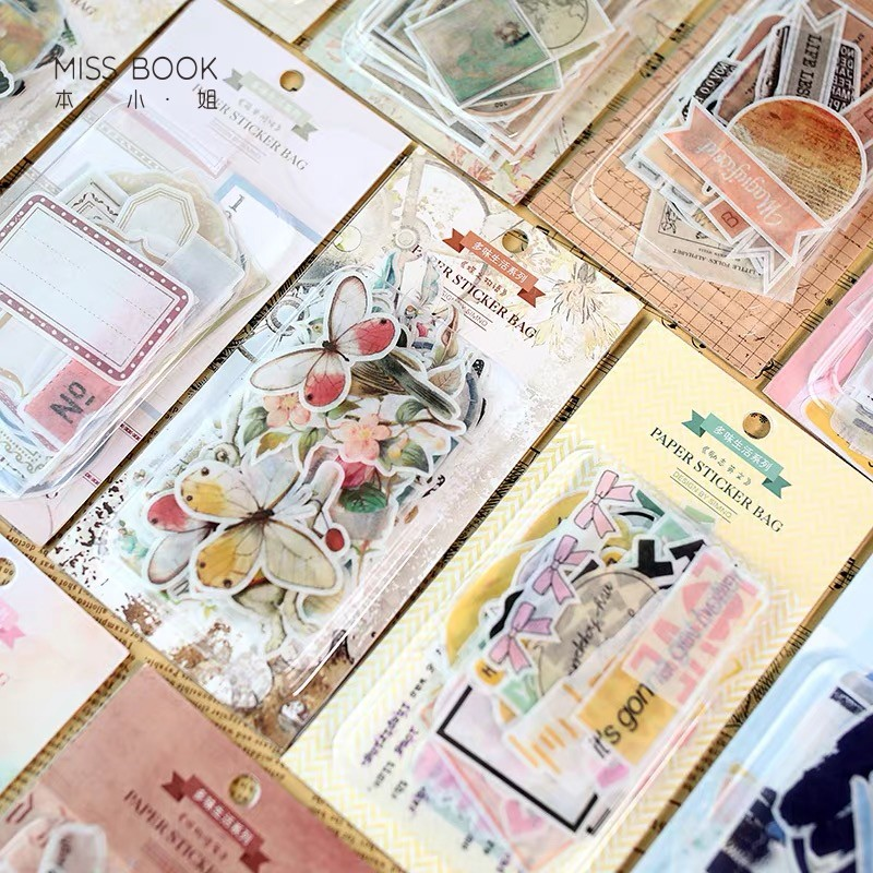 60pcs/pack Retro Map Plants Paper Sticker Decoration DIY Ablum Diary Scrapbooking Label Stickers