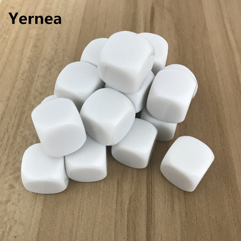 Yernea 20 Pcs/Lot 16mm Blank Dice D6 Acrylic White Rounded Corner Can Write and Carving Children Teaching Game