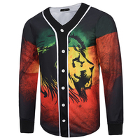 Cool 3D Baseball Jacket Men Hit Color Lion Printed Mens Jackets And Coats Single Breasted Cardigan