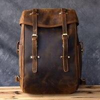 Genuine Leather Men Shoulder Bag Travel Backpacks Men 14 Inch Laptop Bags Retro Handmade Original Crazy Horse Leather Solid Bag