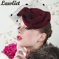 Women Dress Fascinators Winter Beret Bow Veil Wool Hats Women Pillbox Hat Formal Cocktail Wedding Church Headpiece A042
