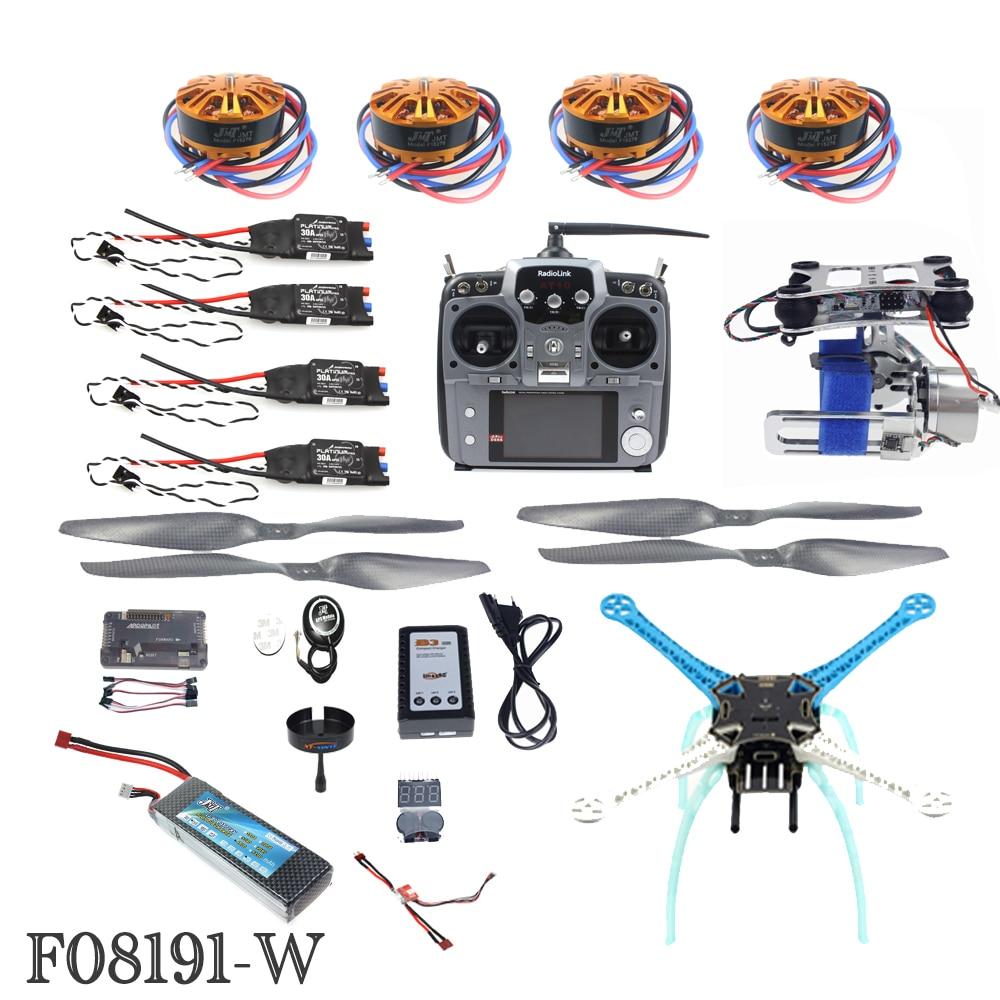 JMT DIY Unassembly 2.4G 10ch RC Quadcopter Drone 500mm S500-PCB APM2.8 M8N GPS 2-Axle Gimbal RTF Full Kit Motor ESC F08191-W rtf full kit hmf y600 tricopter 3 axis copter hexacopter apm2 8 gps drone with motor esc at10 tx