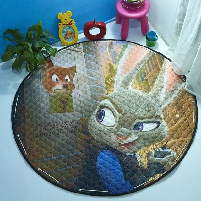 Venda quente Multi-Função Zootopia Judy Fox Nick Coelho Dos Desenhos Animados Padrão Saco de Buggy Tapete Engatinhando Tapete Tapetes de Jogo do bebê Para Crianças brinquedos