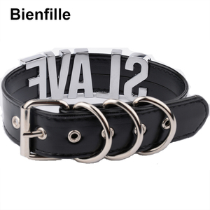 Image 3 - Fashion Gold Men Necklace Women Girl  Slave Name Word  Collar Buckle Necklace Black PU Leather Kawaii Jewelry